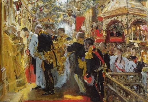 Серов В. А. Коронация. Миропомазание Николая II в Успенском соборе