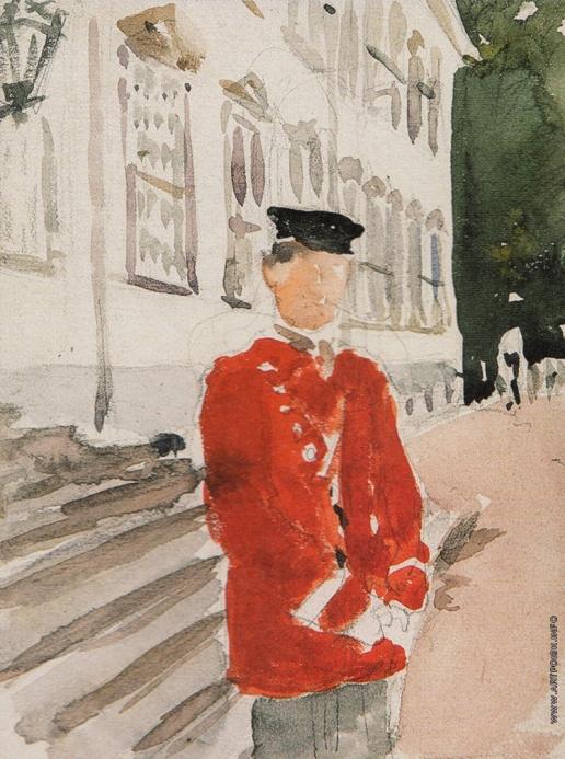 Серов В. А. Фигура офицера датской Королевской лейб-гвардии около дворца Фреденборг в Дании
