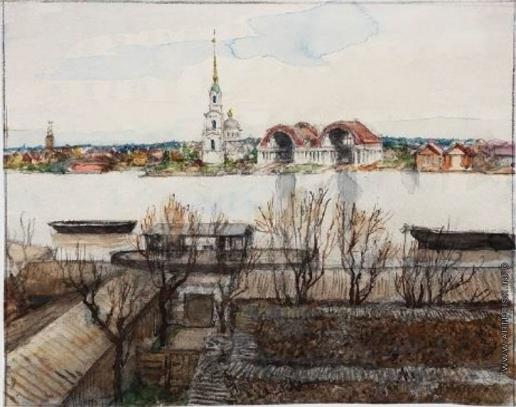 Бенуа А. Н. Вид на реку Охта в Санкт-Петербурге
