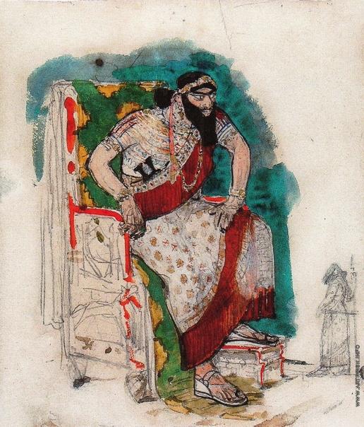 Серов В. А. Олоферн. Эскиз костюма и грима для Ф.И. Шаляпина в опере А.Н. Серова «Юдифь»
