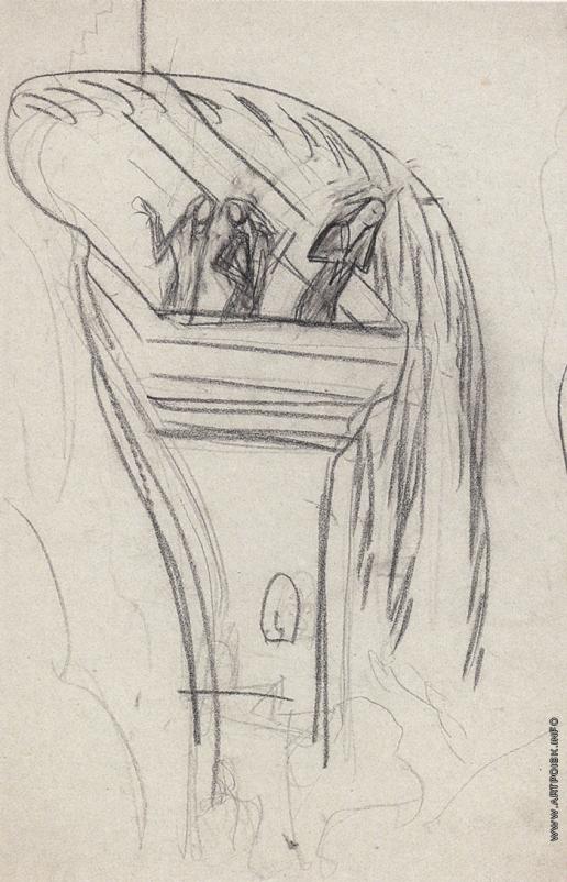 Серов В. А. Женщины на балконе. Подготовительный набросок к занавесу для балета «Шехерезада»