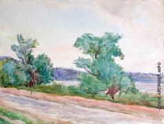 Эйгес О. В. Пейзаж в розовых тонах