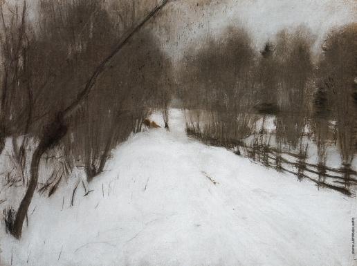 Серов В. А. Зимняя дорога в Домотканове