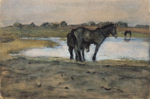 Серов В. А. Лошади у пруда