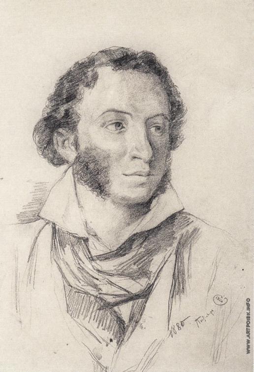 Серов В. А. Портрет А.С. Пушкина (Рисунок с работы В.А. Тропинина)