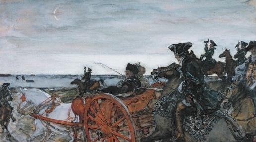 Серов В. А. Екатерина II на соколиной охоте