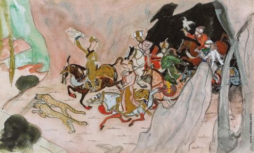 Серов В. А. Выезд на охоту. Эскиз центральной части