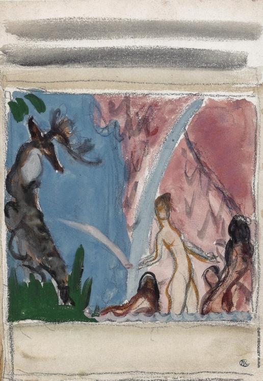 Серов В. А. Диана и Актеон. Эскиз левой части композиции
