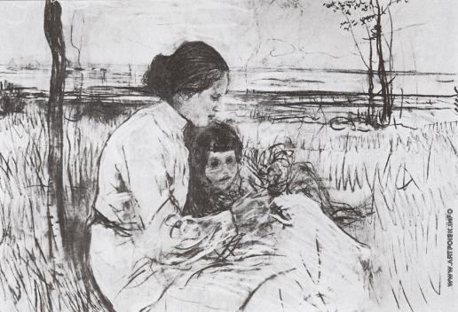 Серов В. А. Дети художника. Ольга и Антоша Серовы