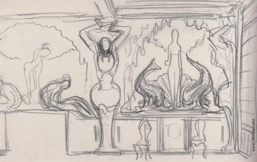 Серов В. А. Эрот, Аполлон и Дафна. Эскиз центральной и правой частей композиции