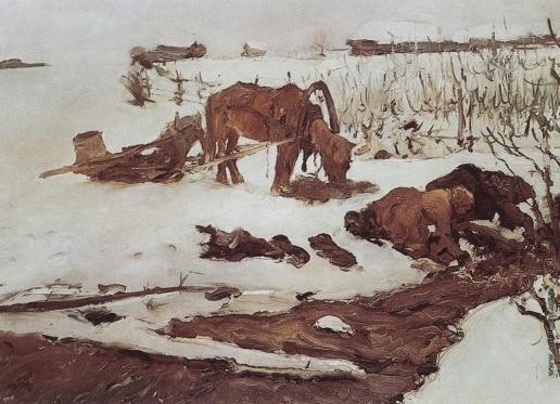 Серов В. А. Полосканье белья (На речке)