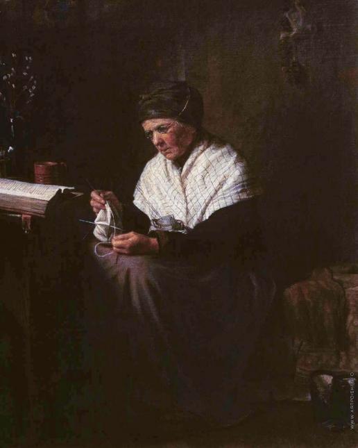 Лемох К. В. Мать художника Крамского за вязанием