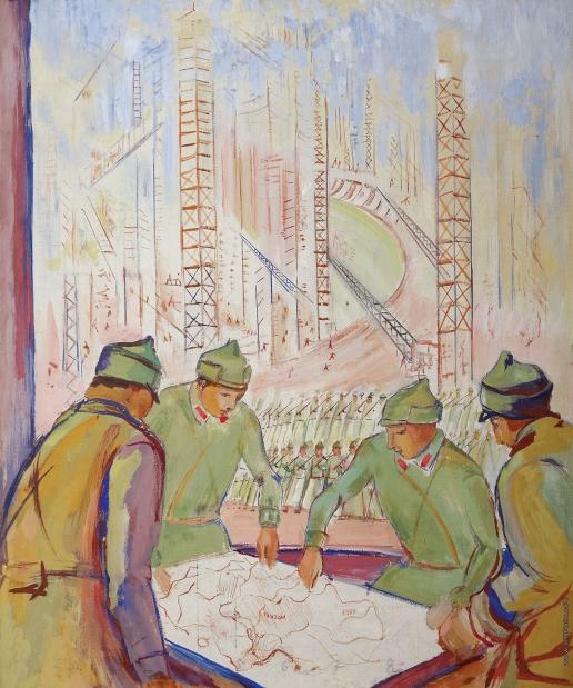 Кузнецов П. В. Над картой страны (На страже социалистической Родины)