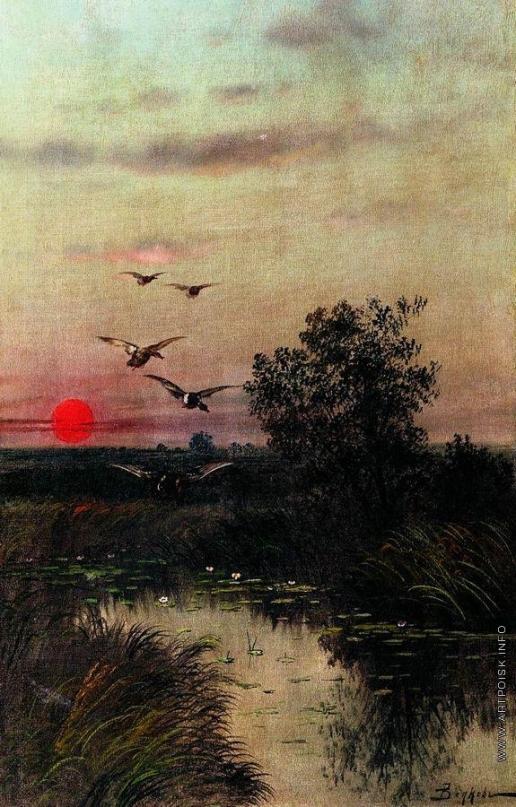 Волков Е. Е. Заход солнца над озером