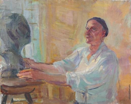 Кузнецов П. В. Портрет скульптора А.Т. Матвеева за работой