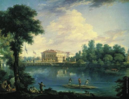 Щедрин С. Ф. Вид на Каменноостровский дворец и плашкоутный мост через Большую Невку со стороны Строгановской набережной