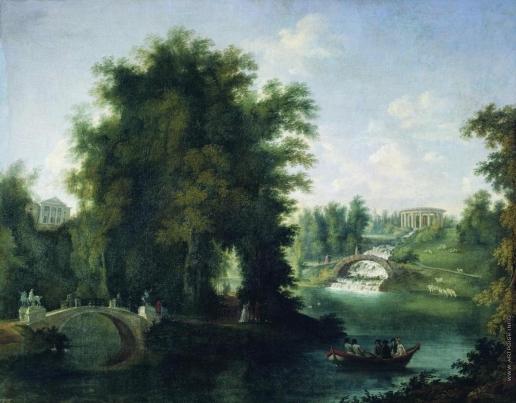 Щедрин С. Ф. Вид в Павловске с большим дворцом, мостиком с кентаврами и каскадом