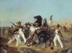 Шарлемань А. И. Взятие лейб-гвардии Конным полком французского знамени 4-го линейного полка под Аустерлицем. 1805 год
