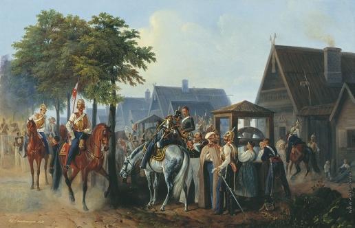 Шарлемань А. И. Гвардия на постое в деревне во время маневров в 1851 году