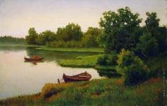 Волков Е. Е. Летний пейзаж с рыбачком