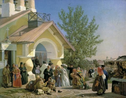 Морозов А. И. Выход из церкви в Пскове