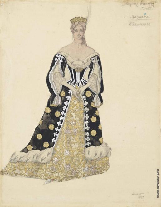 Бакст Л. С. Танцовщица мазурки в золотом платье. Эскиз костюма к «Спящей красавице»
