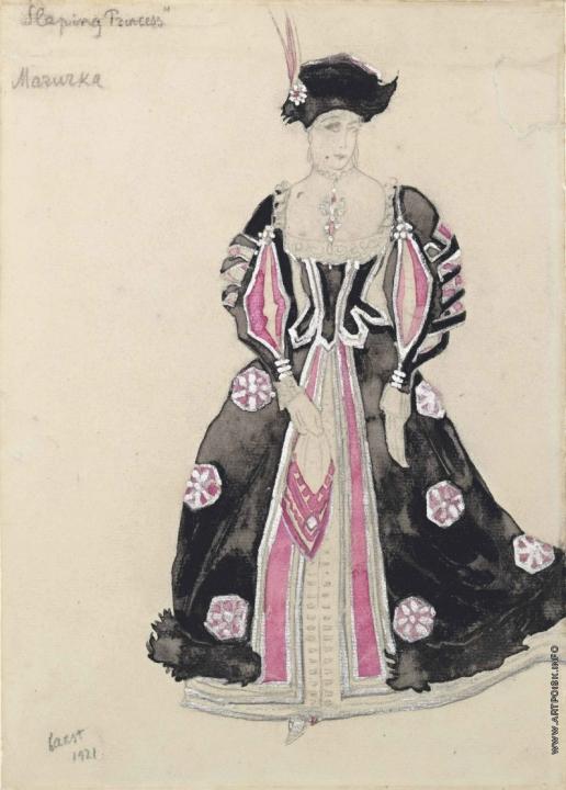 Бакст Л. С. Танцовщица мазурки в розовом. Эскиз костюма к «Спящей красавице»