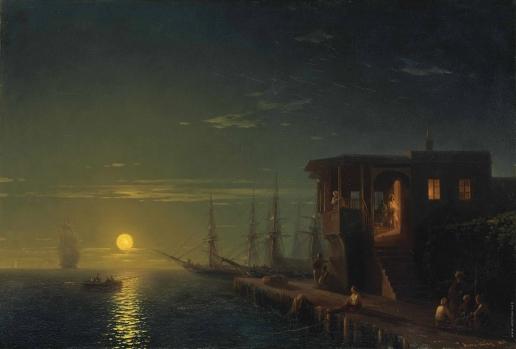 Айвазовский И. К. Османская кофейня в лунном свете