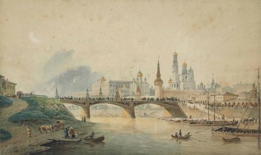 Вейс И. А. Вид на Кремль и Москворецкий мост с набережной Москвы-реки