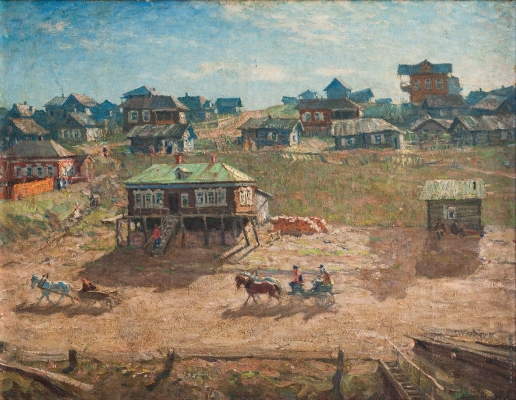 Лаховский А. Б. Деревня на берегу Волги