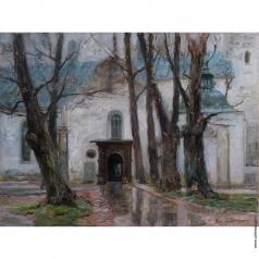 Лаховский А. Б. У входа в церковь