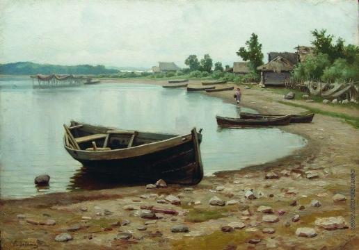 Волков Е. Е. Речной пейзаж с лодками
