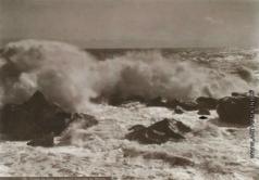 Сокорнов В. Н. Прибой в бурю у рыбачьей пристани в Алупке