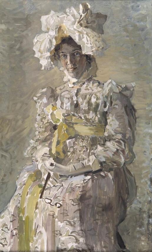 Врубель М. А. Портрет артистки Н.И.Забелы-Врубель, жены художника, в летнем туалете «Empire», исполненном по замыслу художника