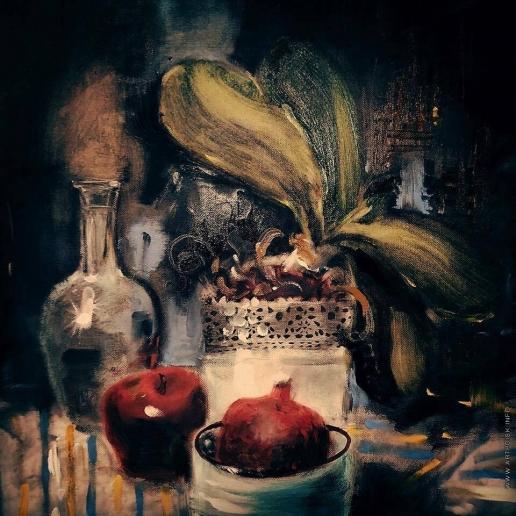 Лапшина Д. Ночной натюрморт с яблоком и орхидеей