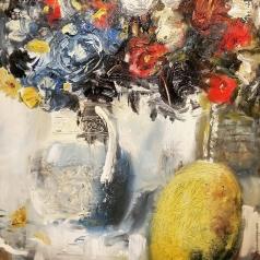 Лапшина Д. Натюрморт с дыней и голубой вазой