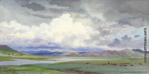 Пугачев П. С. Река Аскиз. В окрестностях священной горы Кызыл-Кая