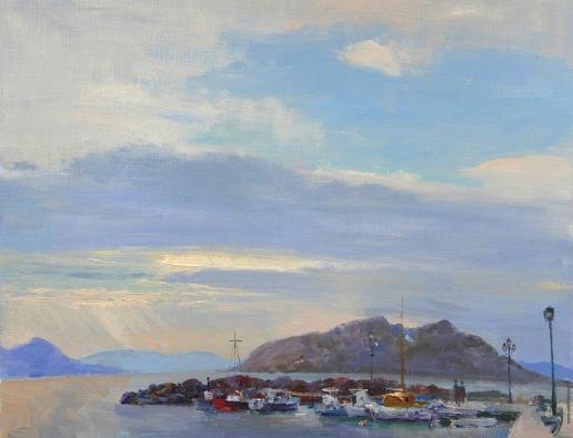 Краснов Д. А. Вечерний вид с пристани на залив в Сараникос и о. Мони. Эгина