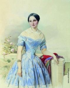 Гау В. И. Портрет неизвестной дамы в голубом платье и с красной шалью