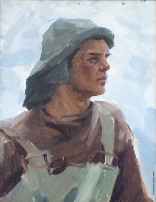 Карякин Н. П. Эскиз фигуры рыбака к картине «К родным берегам»