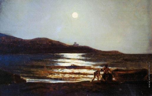 Ге Н. Н. Вид из Сан-Теренцо на Леричи ночью. 1862-