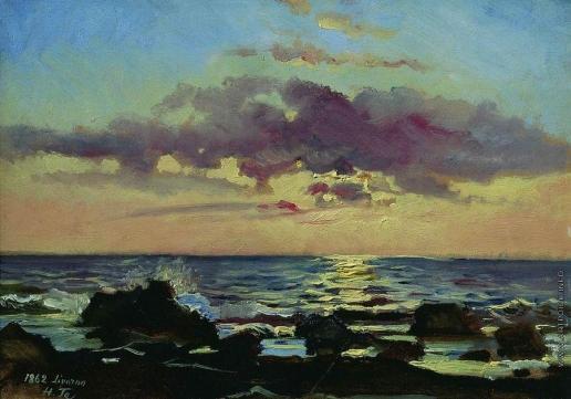 Ге Н. Н. Закат на море в Ливорно