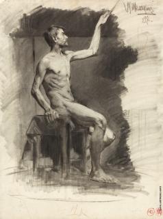 Шемякин М. Ф. Натурщик с поднятой рукой
