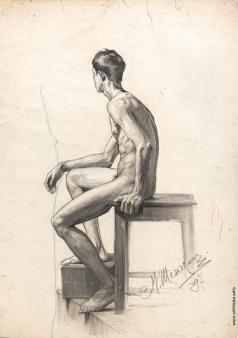 Шемякин М. Ф. Натурщик, сидящий на табурете