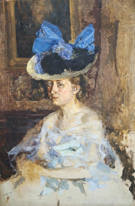 Шемякин М. Ф. Портрет жены художника в шляпе с голубым бантом