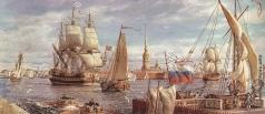 Михайловский В. М. Река Нева у Адмиралтейского канала. Начало XVIII века