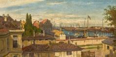 Боголюбов А. П. Вид на Морской порт Копенгагена из окон дворца Амалиенборг