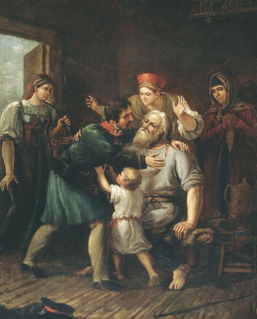 Лучанинов И. В. Возвращение ратника в свое семейство. Этюд