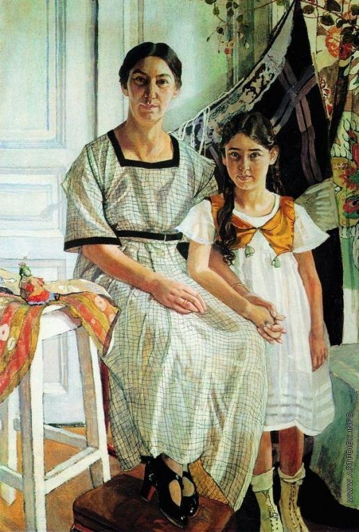 Головин А. Я. Портрет Лидии Яковлевны Рыбаковой с дочерью Олей
