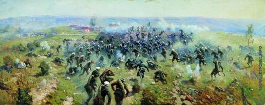 Греков М. Б. Атака лейб-гвардии Гренадерского полка на турецкие позиции под Горным Дубняком 12 октября 1877 года